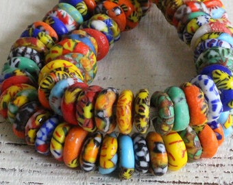 10mm Recycled Krobo Glass Beads From Ghana Africa - 2mm Hole - Large Hole African Glass Donut Beads For Jewelry Making - Multi colored
