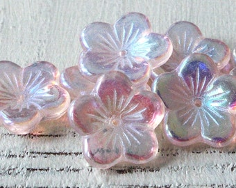 16mm Large Flat Flower Beads -  Czech Glass Beads - Jewelry Making Supply - Button Style Flower (10 or 30 beads)