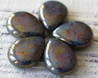 12x16mm Flat Teardrop Beads - Czech Glass Beads - Jewelry Making Supply - Turquoise Bronze Picasso (6 or 25) 16x12mm Pear Shaped Drop