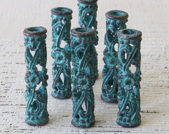 Mykonos Green Patina Beads -30mm Large Tube Beads - Slider Beads For Jewelry Making Supply - Made in Greece - 1 piece