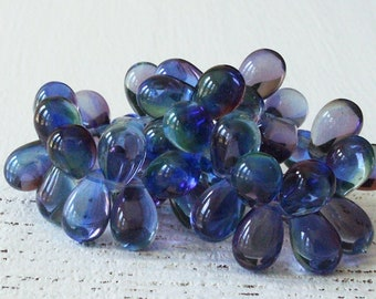 6x9mm Teardrop Beads For Jewelry Making - Czech Glass Beads - Czech Smooth Teardrop 6x9mm - Hyacinth Blue  (25 pieces)
