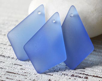 S4 Sea Glass Beads Sea Glass Pendant - Diamond Sea Glass Pendant Beads For Jewelry Making Jewelry -  Frosted Beads  28mm - Sapphire Blue