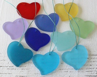 Sea Glass Beads - Sea Glass Pendant  - Beach Glass Beads For Jewelry Making Supplies - 30mm Sea Glass Glass Heart - Choose Color and Amount