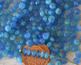 100 - 2x4mm Rondelle Beads - Tiny Czech Glass Beads For Jewelry Making Supplies - Firepolished Rondelle - Marbled Blue - 100 Beads