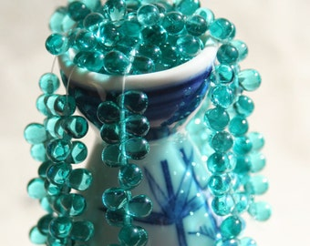Antique Turquoise Bronze Picasso Teardrops 4x6mm Czech Glass Drop Beads Briolette Travertine Green Small Briolettes Stone Turquoise 50pcs