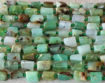 Natural Raw Gemstone Beads - Raw Stone Beads - Chrysoprase Beads - Rough Gemstone Nugget Beads For Jewelry Making  - 16 Inch Strand