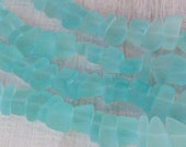 Aqua Sea Glass Beads - Jewelry Making Supply - Beach Glass Pebbles - Recycled Glass Beads (8 inches 30 beads)