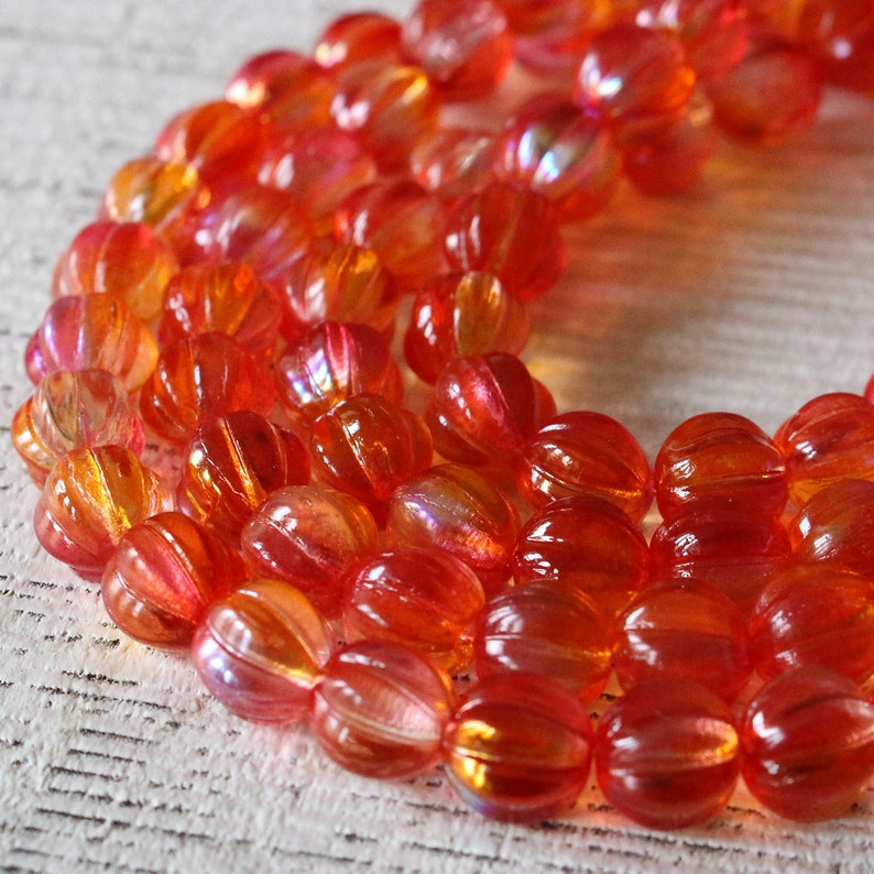 Czech Glass Beads 8mm Round Beads Fluted Glass Beads 8mm Melon Beads For Jewelry Making 30 pieces - Orange Hyacinth Luster AB
