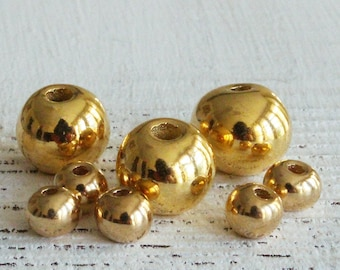 Round - 24K Gold Mykonos Round Beads - Mykonos Gold Beads - Jewelry Making Supply - Metalized Ceramics 6-7mm - Large Hole - Choose Amount