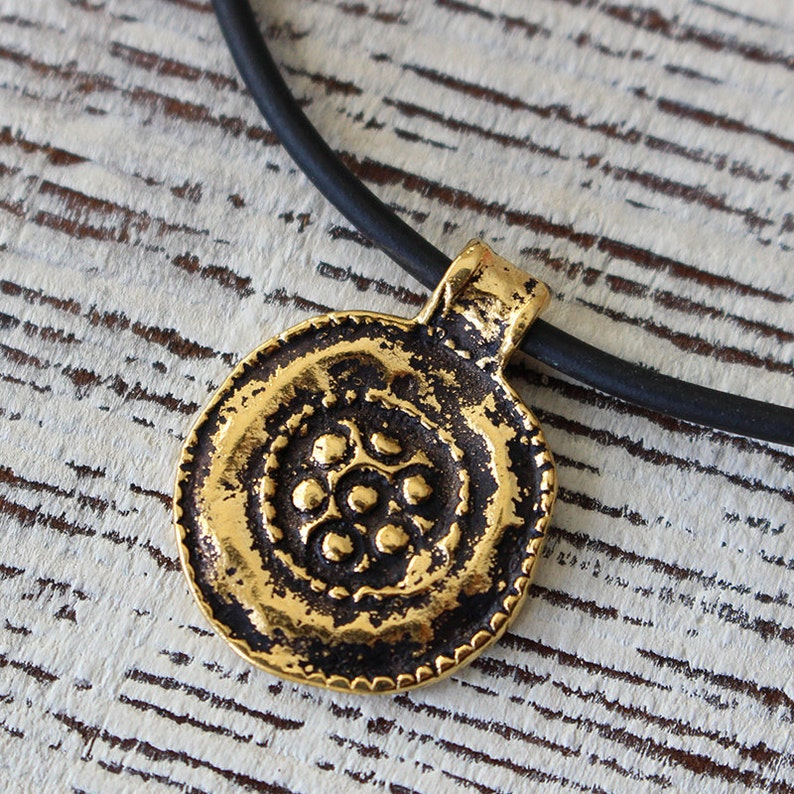 Mykonos Antiqued Gold Floral Medalion Pendant Beads For Jewelry Making Choose Amount Ancient Rustic Charms Gold Findings
