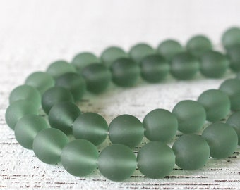 Cultured Sea Glass Beads - 8mm Round Glass Beads For Jewelry Making - Czech Glass Beads - 8mm Druk - Coke Bottle Green Sea Glass (25 beads)