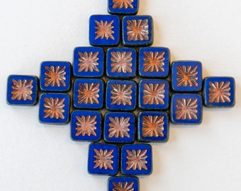 10mm Glass Tile Bead - Star Tile - Czech Glass Beads For Jewelry Making - Opaque Blue with Copper Wash  - 10 or 30