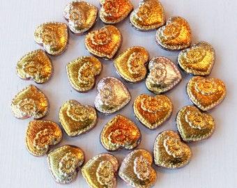 Czech Glass Victorian Heart Bead - Iridescent - 17mm - Choose Amount