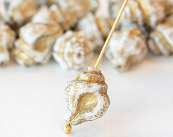 Glass Seashell Beads - Czech Glass Beads - Ivory with Gold Wash - 15x12mm -  10 Beads