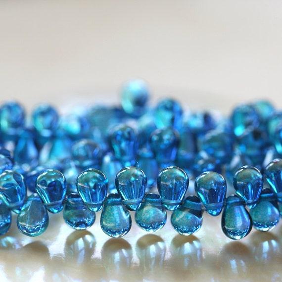 100 Beige Picasso Czech Glass Tear Drop Beads 6MM
