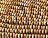 100 - 6mm Smooth Glass Rondelle Beads - Czech Glass Beads - 6mm Spacer Beads - Glass Saucer Beads - Metallic Gold Iris Matte