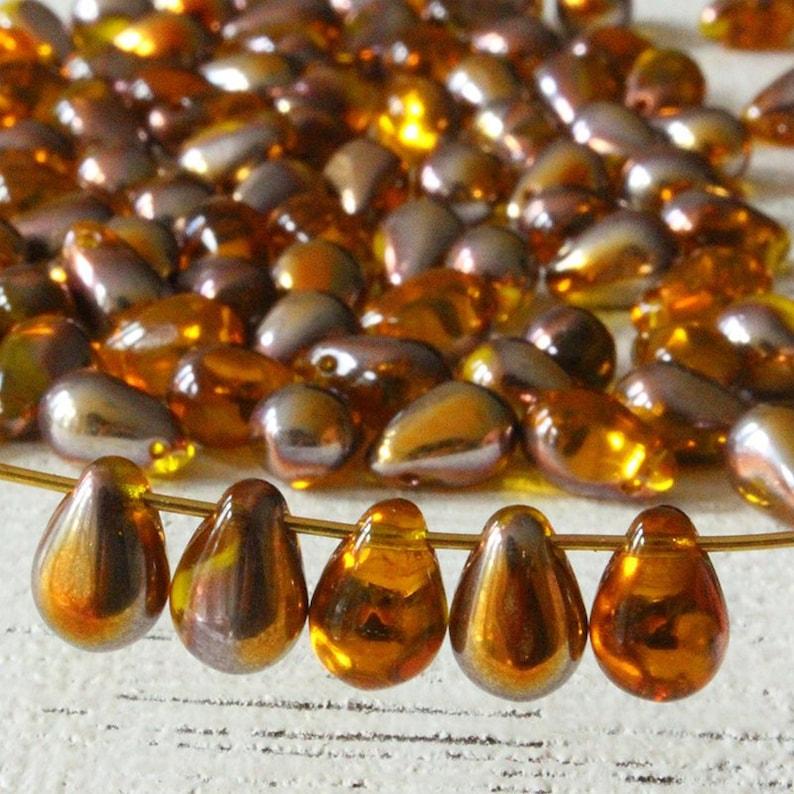 100 Yellow Topaz Glass Tear Drop Teardrops Beads 6MM