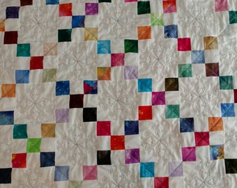 Lap quilt, bright Fossil Fern fabrics on white, jade Fossil on back