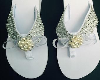 54aa03e280caf8 Bridal Flip Flops Sandal Shoe White Crystal Platform Pearl   Crystal  Embellishements