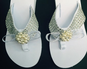 f67b13b3ad905 Bridal Flip Flops Sandal Shoe White Crystal Platform Pearl   Crystal  Embellishements