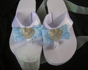 ec437fea9 Bridal Flip Flops. Something Blue w  Rhinestone Heart. White Flip Flop  Sandal