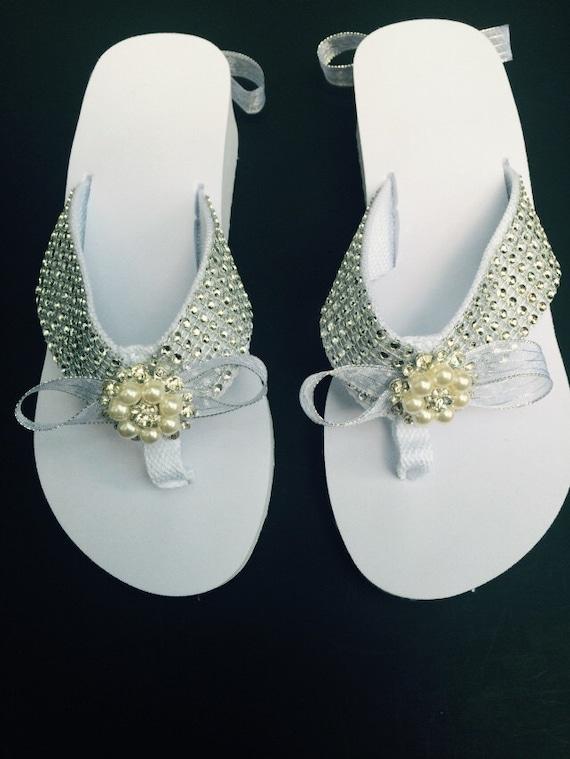 Bridal Flip Flops Sandal Shoe White Crystal Platform Pearl & | Etsy