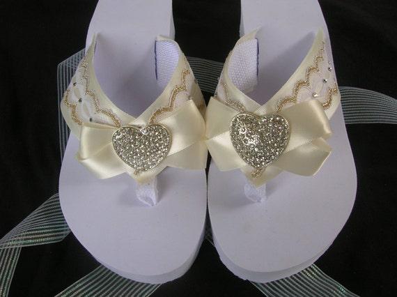 2b6de294ef4eec Off White Bridal Flip Flops Platform Flip Flops Sandal Shoe
