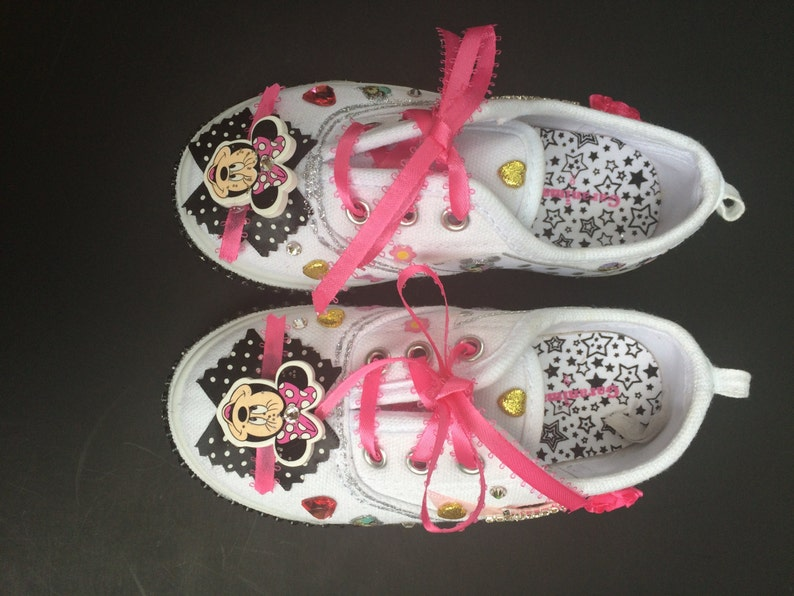 55bb0be372067 Minnie Mouse Shoes. Embellished Toddler Girls Sneakers Casual Shoes with  rhinestones, bling, hearts, flowers. Comes in Black or White