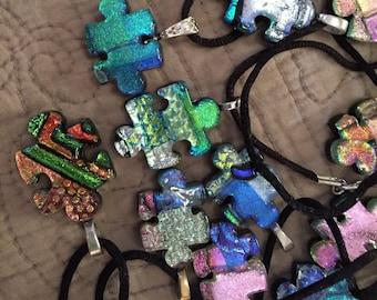 Dichroic Glass Puzzle Piece, Autism Awareness