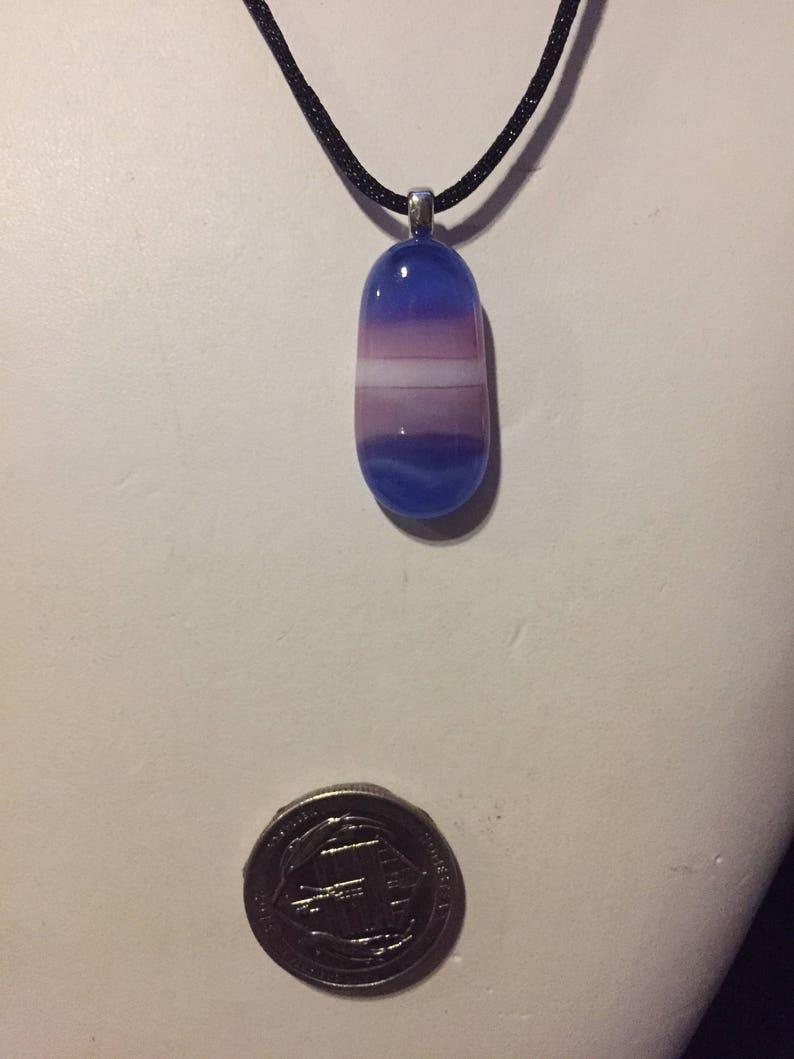 Transgender Flag Art Glass Necklace image 0
