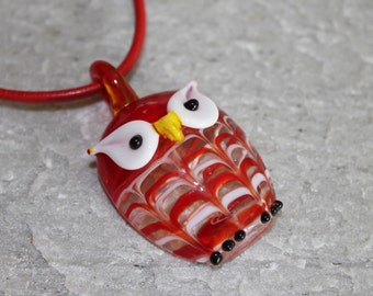 Lampwork Glass Owl Pendant Necklace