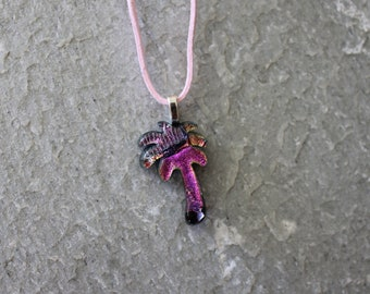 Dichroic Fused Glass Tropical Palm Tree Pendant Necklace Vibrant Pinks
