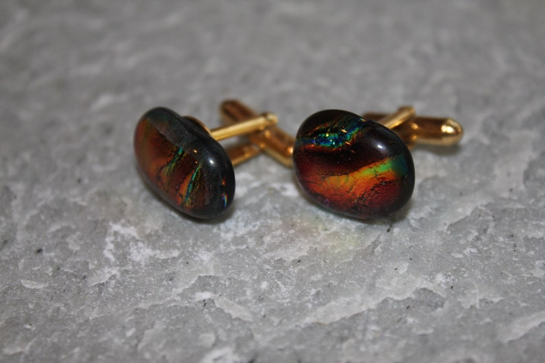 Dichroic Fused Glass Cuff Links Rich Colors image 0