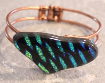 SALE Dichroic Fused Glass Bracelet on Copper Frame Green, Purple, Blue, Black Pattern