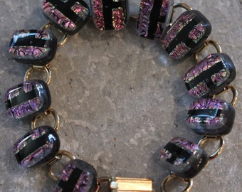 Dichroic Fused Glass Bracelet Purple and Black.  Free Shipping.