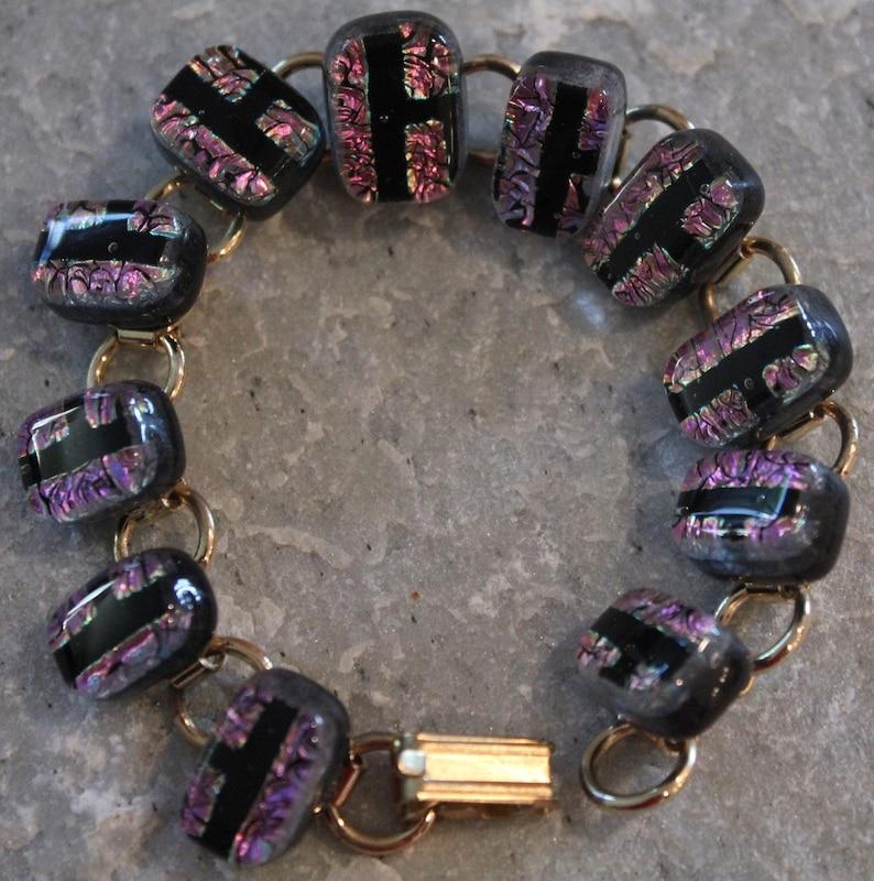 Dichroic Fused Glass Bracelet Purple and Black image 0