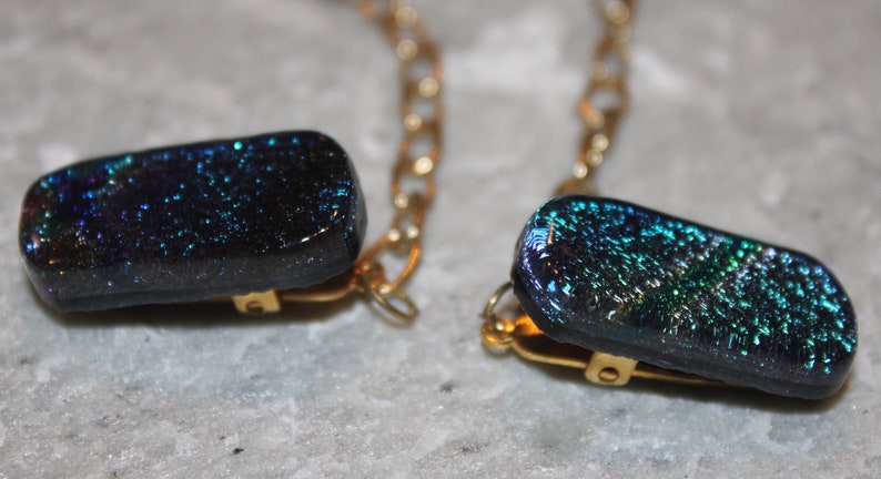 Dichroic Fused Glass Sweater Guard on Gold Plated Chain image 0