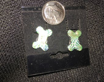 Sparkling silver dichroic dog bone post earrings