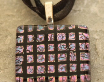 SALE Dichroic Fused Glass Pendant Necklace Purple Black Checker Board