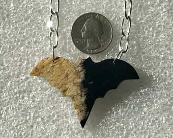 """Halloween Bat Necklace 18"""" 925 sterling silver chain, spooky gothic jewelry"""