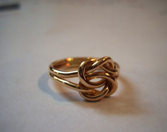 double knot ring in solid gold thick knot sailor ring friendship ring Chunky 10k gold double reef knot ring with engraving space #B102