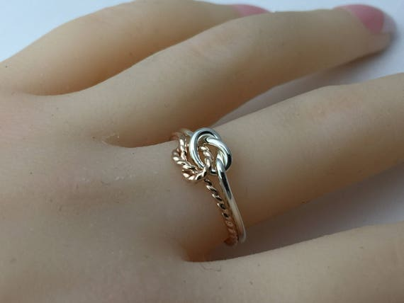 528248d79d Rose gold knot ring sterling silver love knot ring double   Etsy