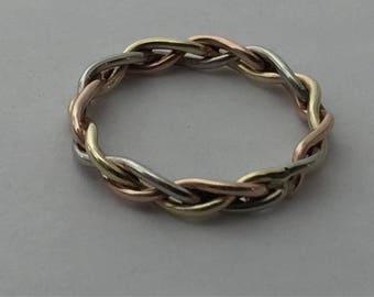 Braid ring, gold braided ring, braided wedding band,  10kt gold, tri color braided ring, rose, yellow, and white gold