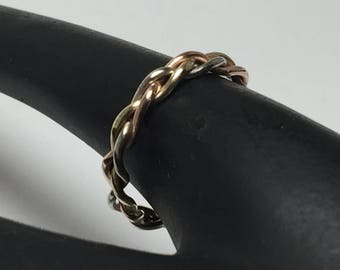 14kt solid gold braid ring, tri color braid ring, rose gold, yellow gold, white gold, made in your ring size