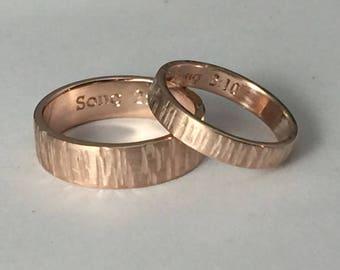 Rose gold wedding band set, gold wedding band set, his and hers wedding rings, organic wedding rings, tree bark rings, rose gold rings