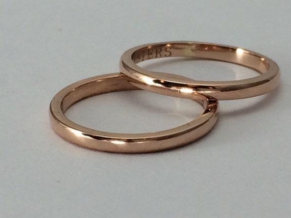 Rose Gold Wedding Band Pink Gold Ring Plain Gold Ring Gift Etsy