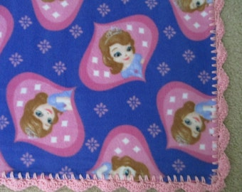 SOFIA the FIRST Disney Baby BLANKET, Fleece with Hand Crocheted Edging