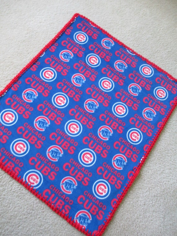 Chicago Cubs Baby Blanket Fleece With Hand Crocheted Edging Etsy