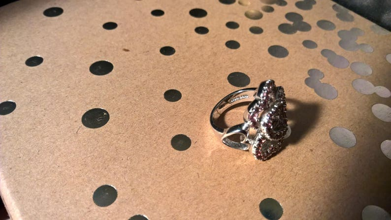 signed NF 925 Thailand Sterling silver and pink stones heart ring