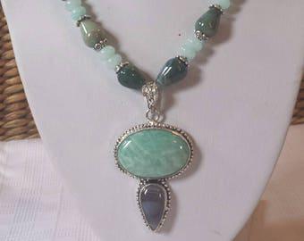Natural Stone necklace Aquamarine gemstone large Blue Amazonite pendant